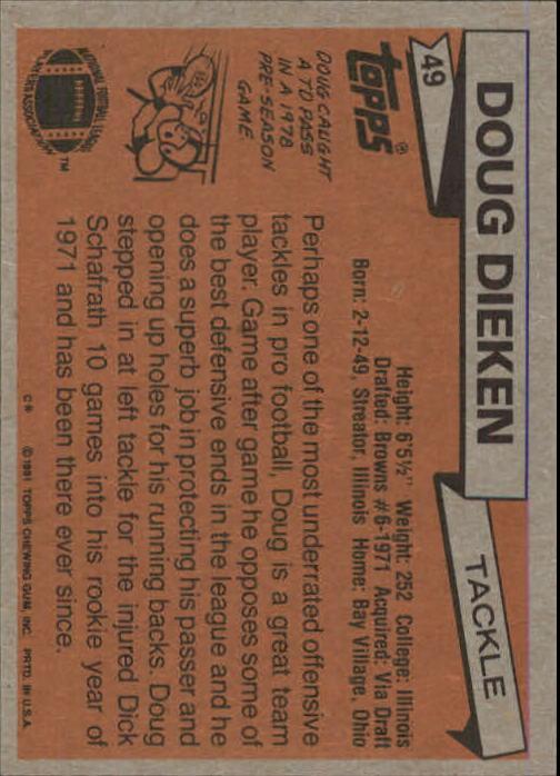 1981 Topps #49 Doug Dieken back image