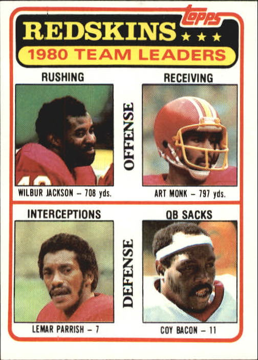 1981 Topps #57 Wash. Redskins TL/Wilbur Jackson/Art Monk/Lemar Parrish/Coy Bacon/(checklist back)