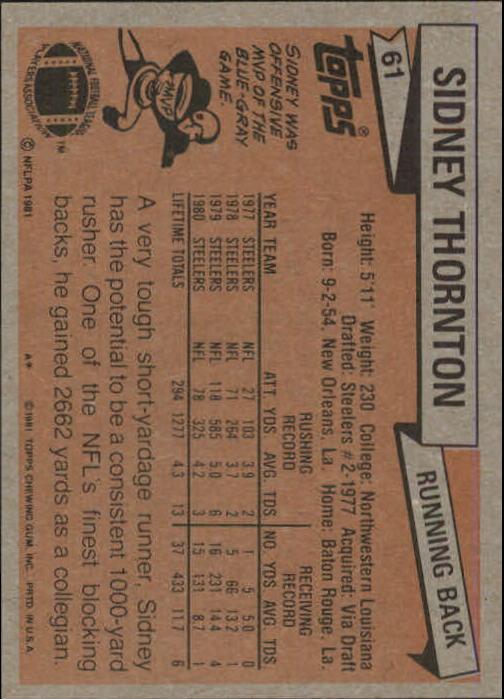 1981 Topps #61 Sidney Thornton back image