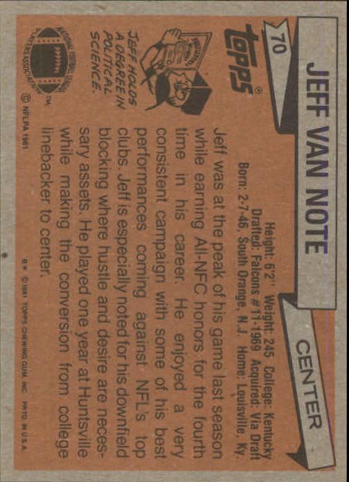 1981 Topps #70 Jeff Van Note back image