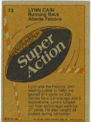 1981 Topps #73 Lynn Cain SA back image