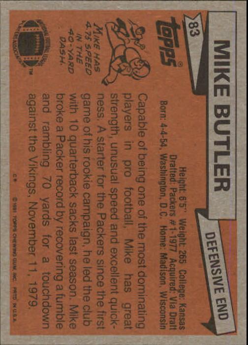 1981 Topps #83 Mike Butler back image