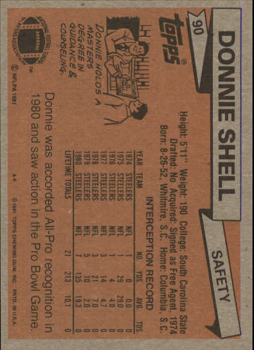 1981 Topps #90 Donnie Shell back image