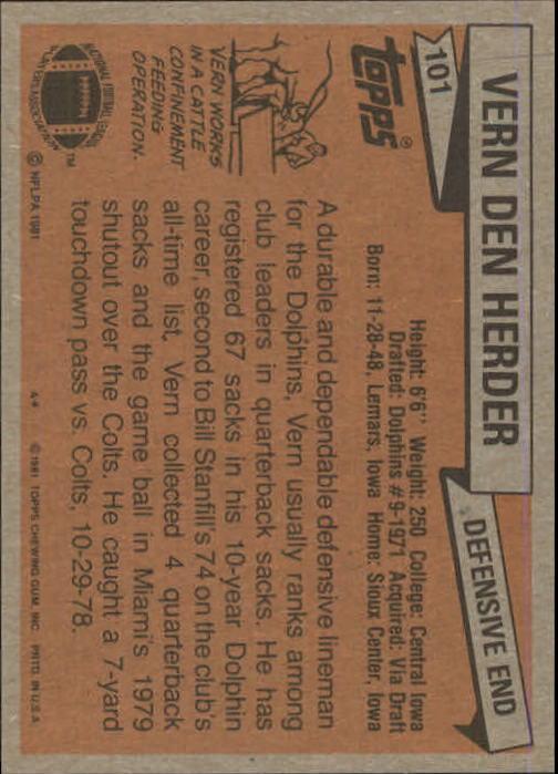 1981 Topps #101 Vern Den Herder back image