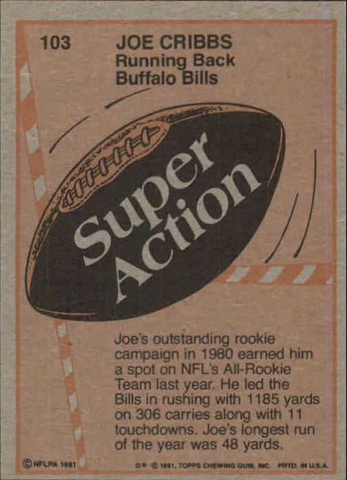 1981 Topps #103 Joe Cribbs SA back image