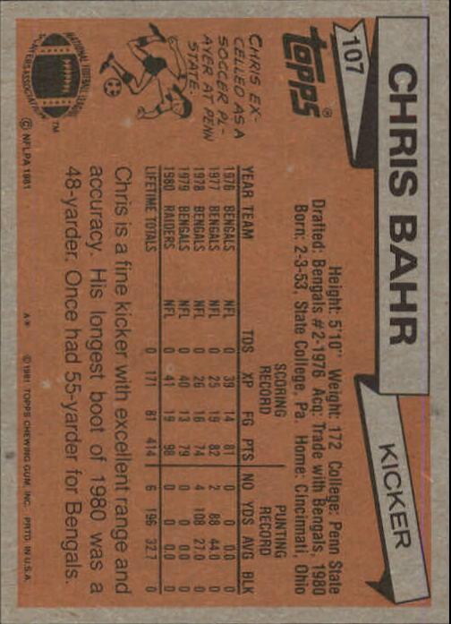 1981 Topps #107 Chris Bahr back image