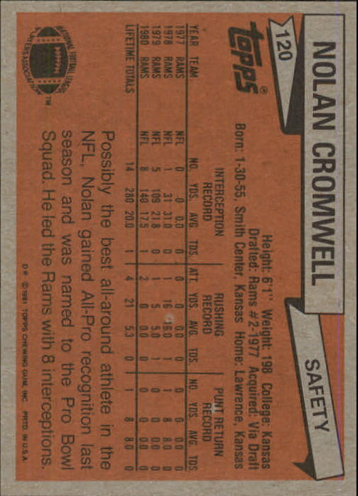 1981 Topps #120 Nolan Cromwell AP/UER (Rushing TD's/added wrong) back image