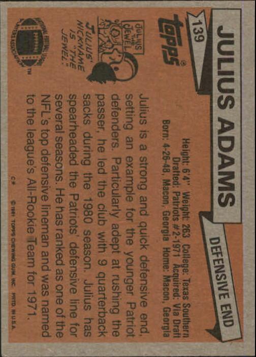 1981 Topps #139 Julius Adams back image