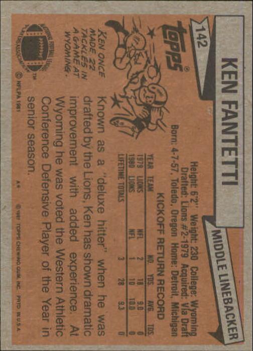 1981 Topps #142 Ken Fantetti back image