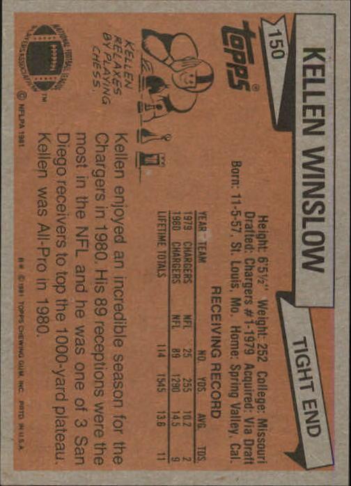 1981 Topps #150 Kellen Winslow RC back image