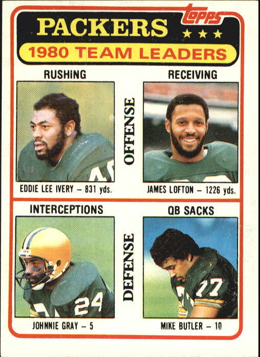 1981 Topps #151 Green Bay Packers TL/Eddie Lee Ivery/James Lofton/Johnnie Gray/Mike Butler/(checklist back)