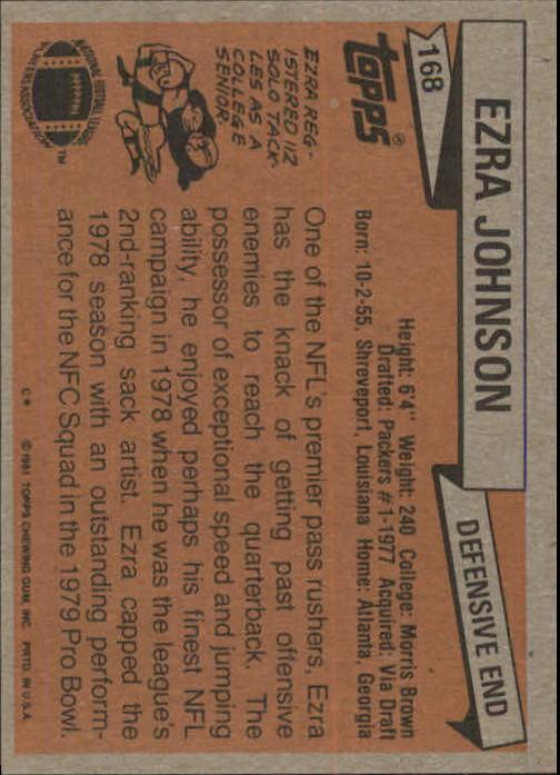 1981 Topps #168 Ezra Johnson back image