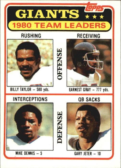 1981 Topps #188 New York Giants TL/Billy Taylor/Earnest Gray/Mike Dennis/Gary Jeter/(checklist back)