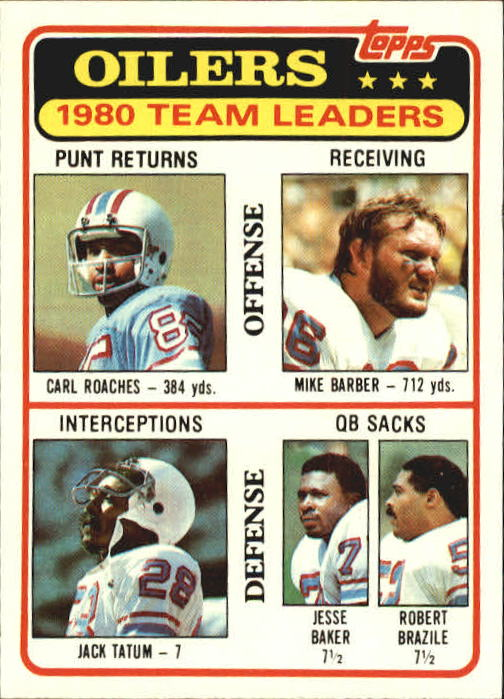 1981 Topps #207 Houston Oilers TL/Carl Roaches/Mike Barber/Jack Tatum/Jesse Baker/Robert Brazile/(checklist back)