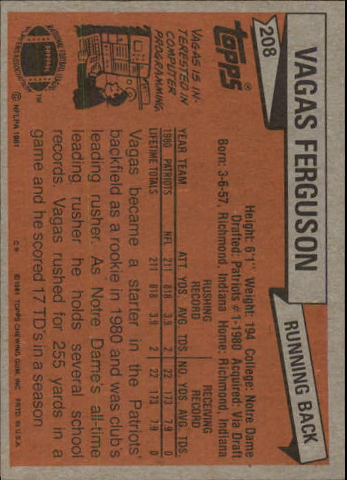 1981 Topps #208 Vagas Ferguson RC back image