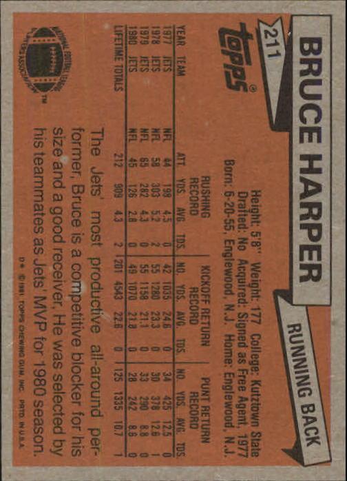 1981 Topps #211 Bruce Harper back image