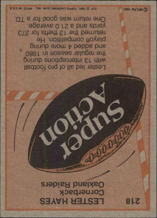 1981 Topps #218 Lester Hayes SA back image