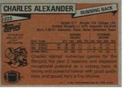 1981 Topps #222 Charles Alexander RC back image