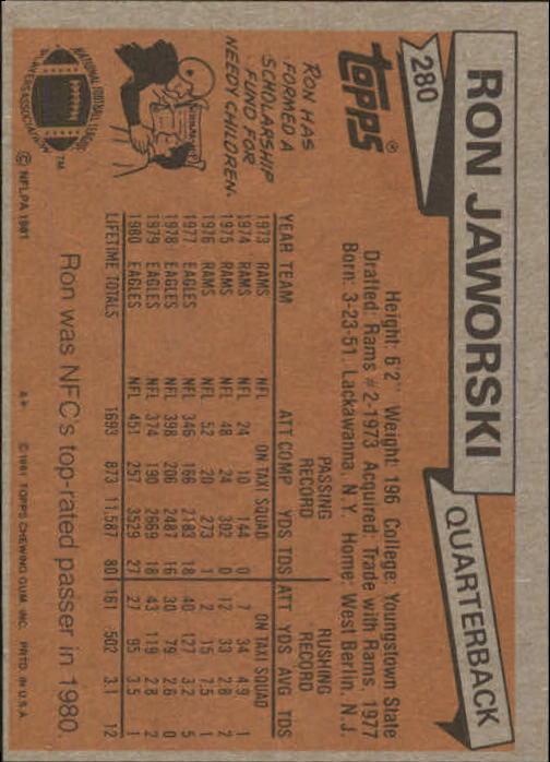 1981 Topps #280 Ron Jaworski back image