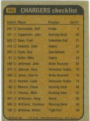 1981 Topps #282 San Diego Chargers TL/Chuck Muncie/John Jefferson/Glen Edwards/Gary Johnson/(checklist back) back image