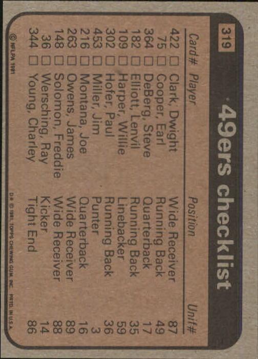 1981 Topps #319 San Francisco 49ers TL/Earl Cooper/Dwight Clark/Ricky Churchman/Dwight Hicks/Jim Stuckey/(checklist back) back image