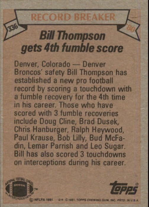 1981 Topps #336 Bill Thompson RB/Most Touchdowns,/Fumble Recoveries:/Lifetime back image