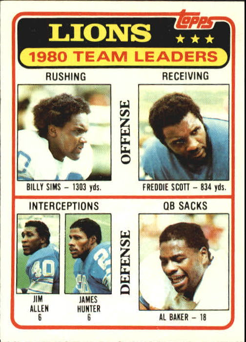 1981 Topps #338 Detroit Lions TL/Billy Sims/Freddie Scott/Jim Allen/James Hunter/Al(Bubba) Baker/(checklist back)