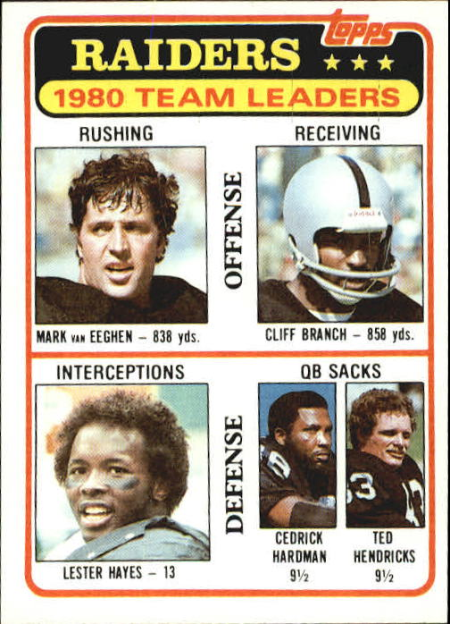 1981 Topps #359 Oakland Raiders TL/Mark Van Eeghen/Cliff Branch/Lester Hayes/Cedrick Hardman/Ted Hendricks/(checklist back)