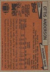 1981 Topps #365 Ottis Anderson back image