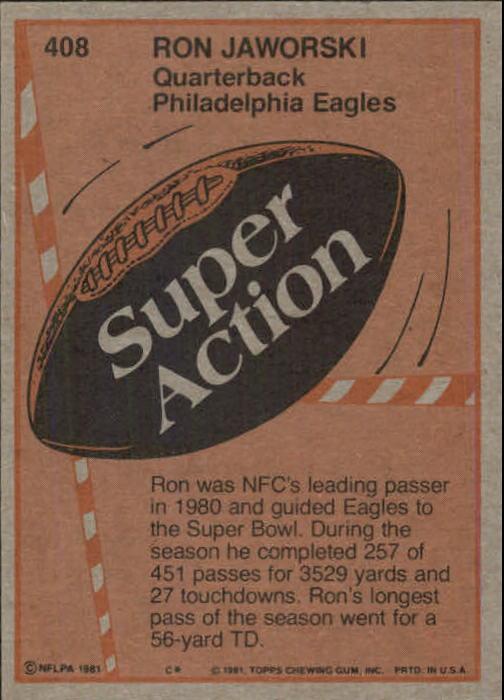 1981 Topps #408 Ron Jaworski SA back image