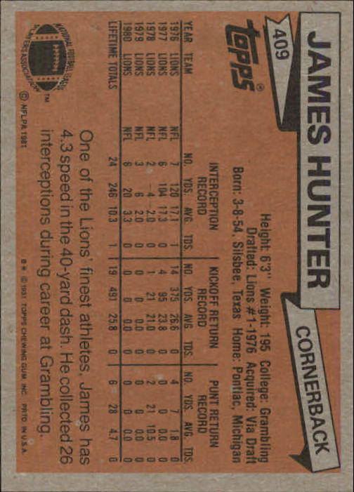 1981 Topps #409 James Hunter back image