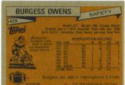 1981 Topps #429 Burgess Owens back image