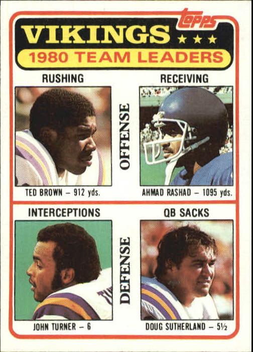1981 Topps #432 Minnesota Vikings TL/Ted Brown/Ahmad Rashad/John Turner/Doug Sutherland/(checklist back)