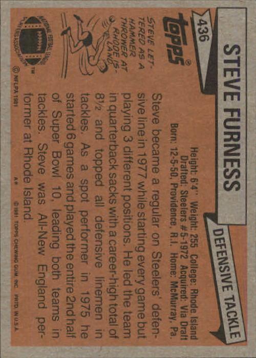 1981 Topps #436 Steve Furness back image
