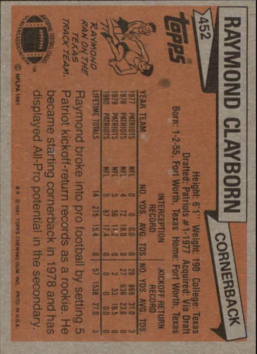 1981 Topps #452 Raymond Clayborn back image