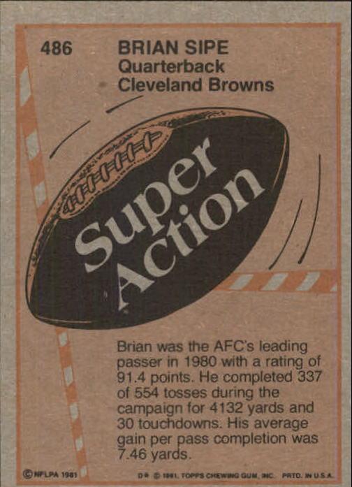 1981 Topps #486 Brian Sipe SA back image