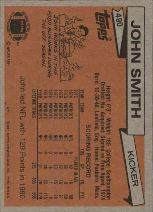 1981 Topps #490 John Smith back image
