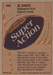 1981 Topps #498 Al(Bubba) Baker SA back image