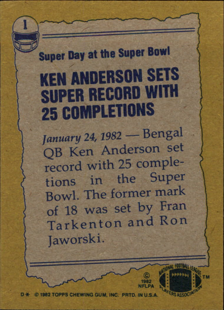 1982 Topps #1 Ken Anderson RB/Most Completions/Super Bowl Game back image