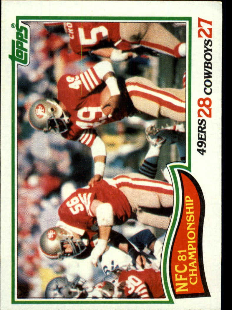 1982 Topps #8 NFC Championship/49ers 28,/Cowboys 27/(Earl Cooper)