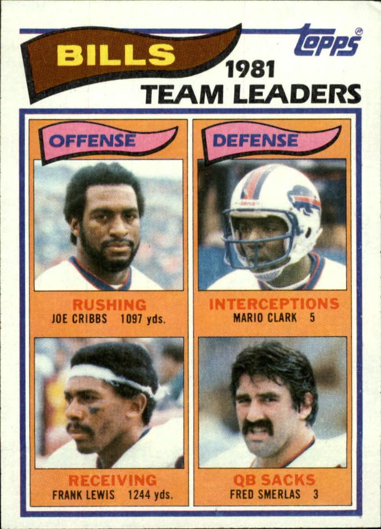 1982 Topps #21 Buffalo Bills TL/Joe Cribbs/Frank Lewis/Mario Clark/Fred Smerlas