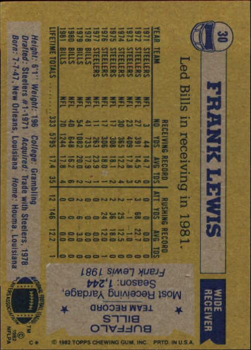 1982 Topps #30 Frank Lewis back image