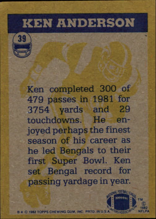 1982 Topps #39 Ken Anderson IA back image