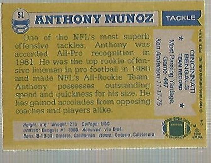 1982 Topps #51 Anthony Munoz RC back image