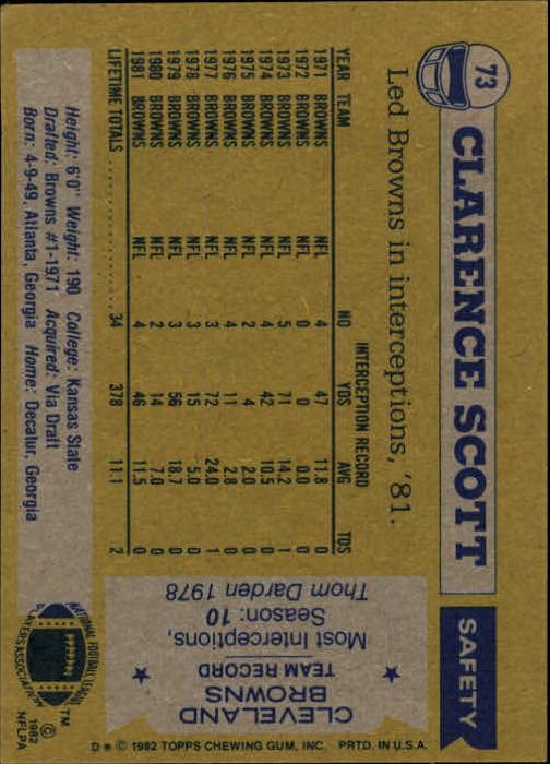1982 Topps #73 Clarence Scott back image