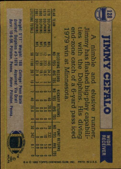 1982 Topps #128 Jimmy Cefalo back image