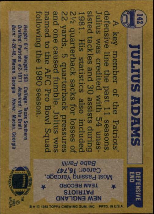 1982 Topps #142 Julius Adams back image
