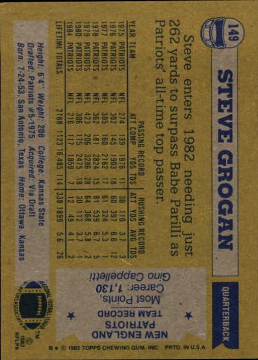 1982 Topps #149 Steve Grogan back image