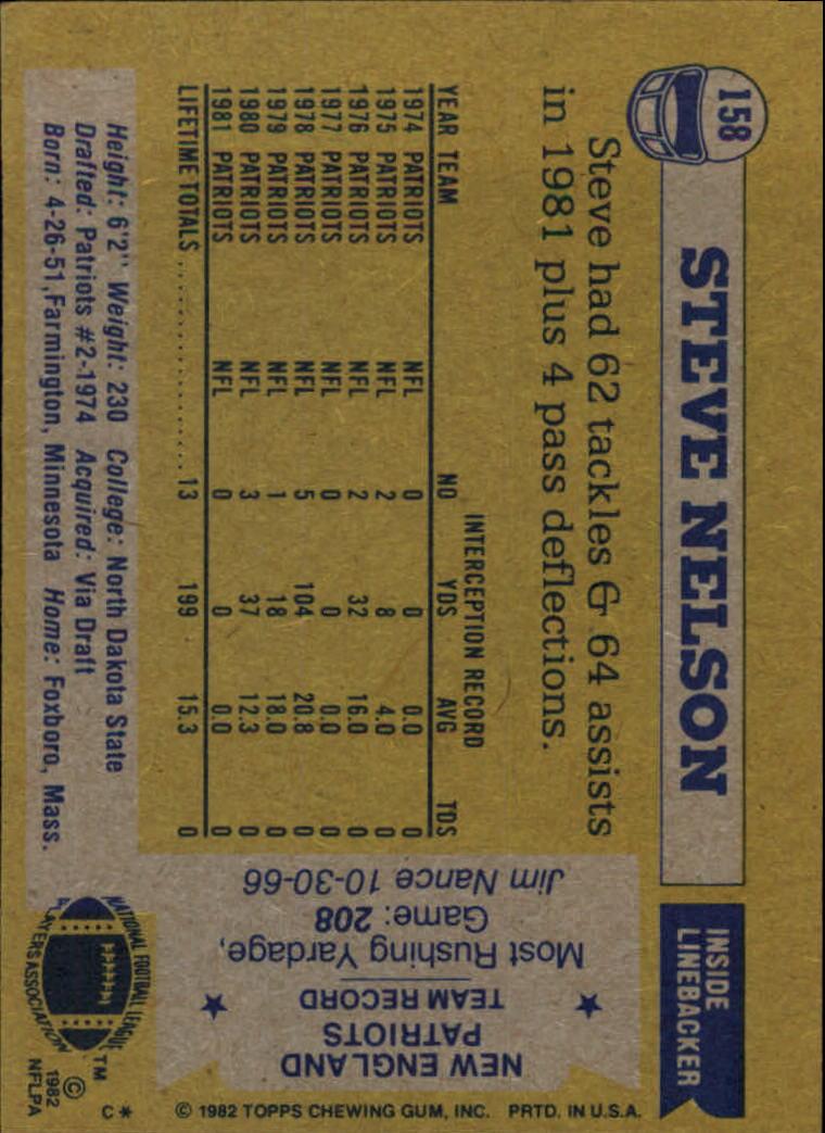 1982 Topps #158 Steve Nelson back image