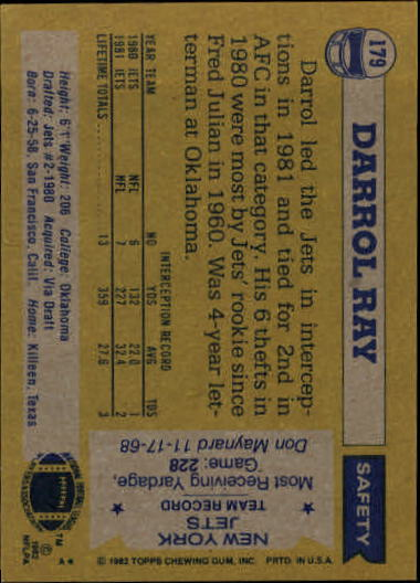 1982 Topps #179 Darrol Ray back image